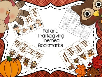 Fall and Thanksgiving Bookmarks