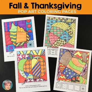 "Fall and Thanksgiving Art Activity: ""Pop Art"" Interactive Coloring Sheets"