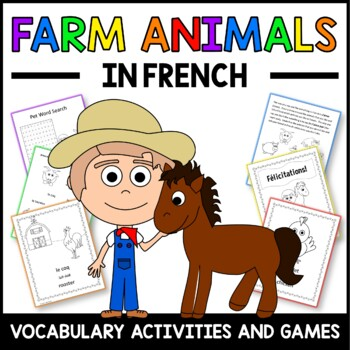 Farm Animals in French - vocabulary sheets, worksheets and