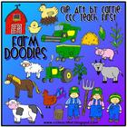 Farm Doodles clip art (color PNG files)