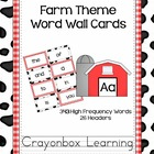 Farm Theme Word Wall Headers & Cards - High Frequency Word