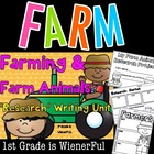 "Farm and Farm Animals ""Research"" Writing Unit for K-2nd Grades"