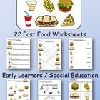Fast Food worksheets for Special Education / Early Learners