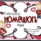February Homework Pack for Kindergarten