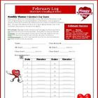 February Reading and Math Log: Theme is Valentine's Day