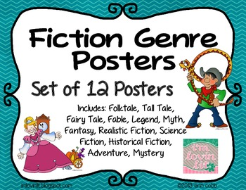 Fiction Genres Posters Set of 12