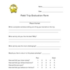 Field Trip Self Assessment Form for Elementary Students