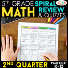 Fifth Grade Common Core Spiral Math Homework - ENTIRE SECO