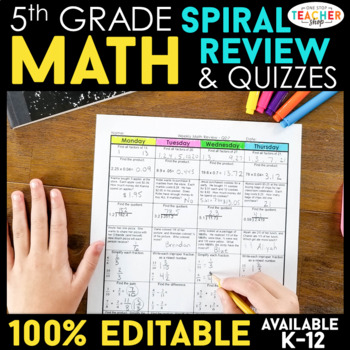 Fifth Grade Common Core Spiral Math Homework - ENTIRE YEAR!!!! } Editable