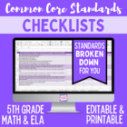 Fifth Grade Common Core Standards Editable Checklist (Math/ ELA)