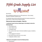 Fifth Grade Supply List
