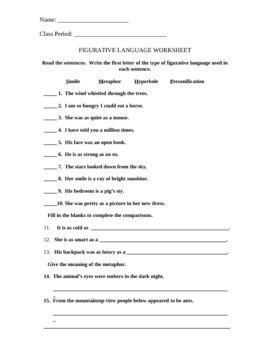 Figurative Language Worksheet