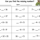 Find the Missing Number Practice Page