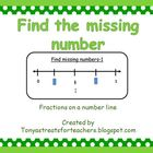 Find the missing number-fractions on a number line