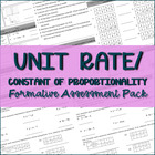 Finding Unit Rate / Constant of Proportionality Formative