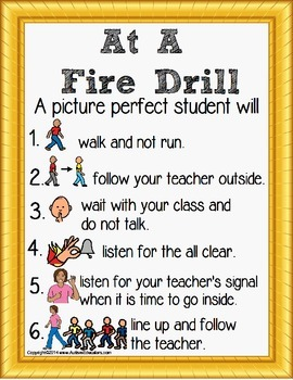 Fire Safety Social Story Rules Poster for Special Education FREE