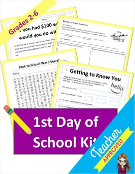 First Day of School Activity Kit for Grades K-6