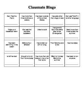 First Day of School: Classmate Bingo