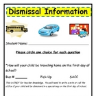 First Day of School Dismissal Form