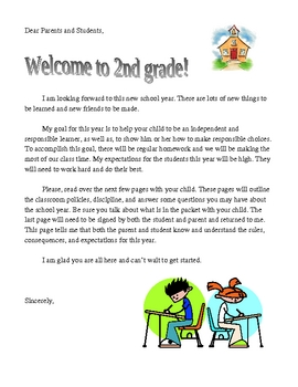 First Day of School Letter to Parents ---FREE!