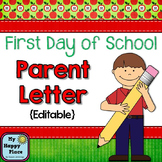 {freebie} First Day of School Parent Letter - EDITABLE