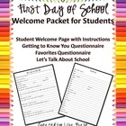 First Day of School Student Questionnaire Packet