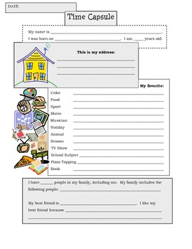 First Day of School Time Capsule Activity