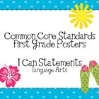 First Grade Common Core ELA Standards Posters-Tropical