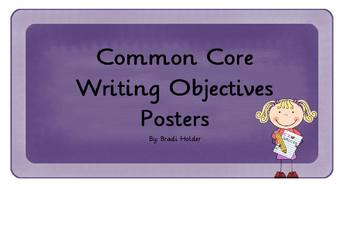 First Grade Common Core Writing Objectives Posters