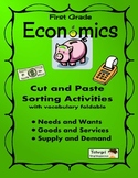 First Grade Economics Foldable w/ PowerPoint, Vocabulary,