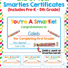 First Grade End of Year SMARTIES Certificates