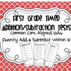 First Grade Timed Add/Subtraction Test Within 10 1.OA.6