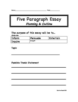 Five Paragraph Essay Outline Sample