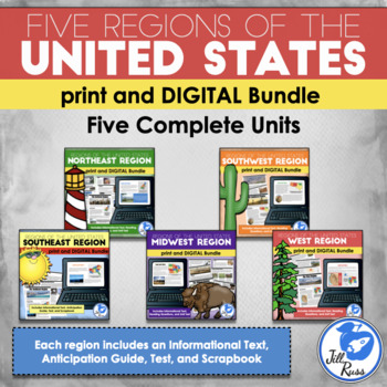 Regions of the United States: 5 Complete Units with Inform