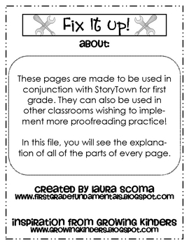 Fix It Up StoryTown Proofreading - First Grade