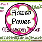 Flower Power Pink/Green Classroom Décor Set