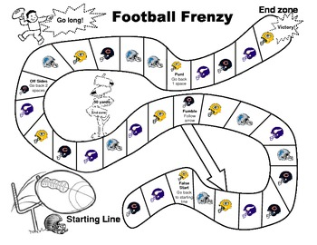 Football Candy Land Game Board and Pieces
