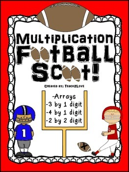 Football Multiplication Scoot!  4.NBT.B.5