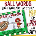 Football Words-Dolch List 4 Mastery System Meets Common Core
