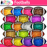 Footballs Dipped in Glitter Clipart - Celebrate School Spo