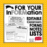 Back to School Forms + Checklists + Letters (EDITABLE)