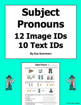 Foreign Language Subject Pronoun Picture ID's Homework