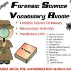 Forensic Science Vocabulary Lists, Introduction Activities