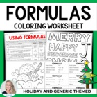 Formulas Christmas Holiday Coloring Worksheet