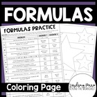 Formulas Coloring Worksheet