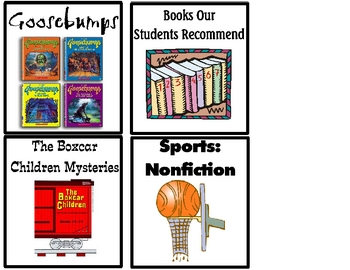 Four FREE Library Basket Labels