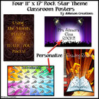 Four Rock Star Themed Classroom Posters