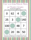 Four-in-a-Row Mental Math Game/Center for Middle Grades