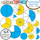 Fraction Circles Set: Clip Art Graphics for Teachers {Blue