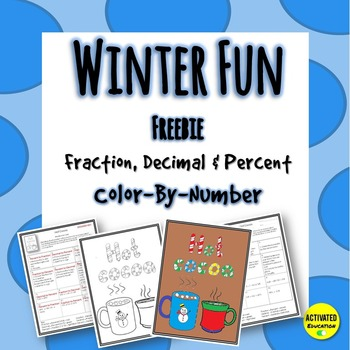 Fraction, Decimal & Percent Color By Number Winter Review Activity Freebie